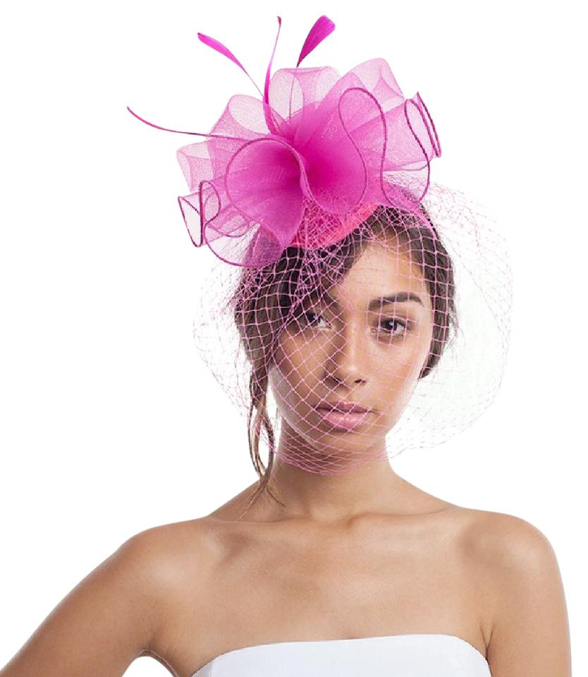 Pink New Feather & Mesh Flower Veil Hat - Tradesy