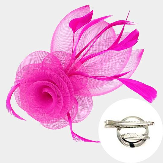 Wedding fascinator Hat New Feather Mesh Flower Hair Pinch Clip Brooch Image 1