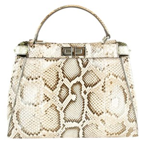 Fendi Women Animal Print Patterned Python Satchel in Multi-Color