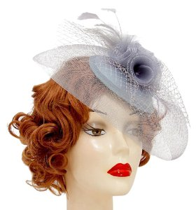 Wedding fascinator Hat New Feather accented birdcage veil mesh flower fr Dressy Church Hat