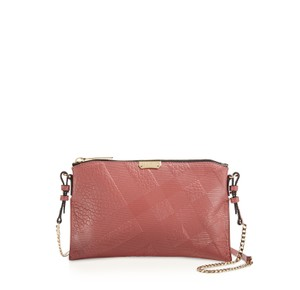 Burberry Peyton Crossbody Signature Embossed Grain Leather Antique Rose Messenger Bag