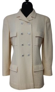 Chanel Cc Silk Coat Ivory Jacket
