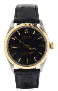 Rolex Mens Rolex Two-Tone 14K/SS Oyster Perpetual Black 1005