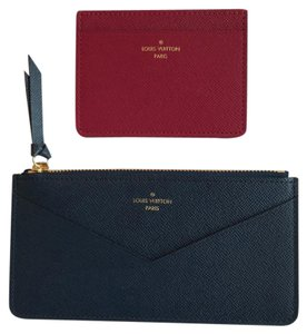 Louis Vuitton HOT! Blue and Fuchsia Leather Jeanne Credit Card and Zippy Wallet Inserts