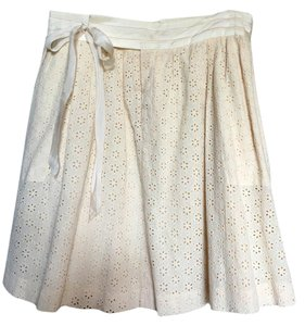 Rebecca Taylor Eyelet Wrap Around Pockets Matching Top Skirt cream