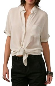 Theory Silk Sheer Button-down Top Ivory