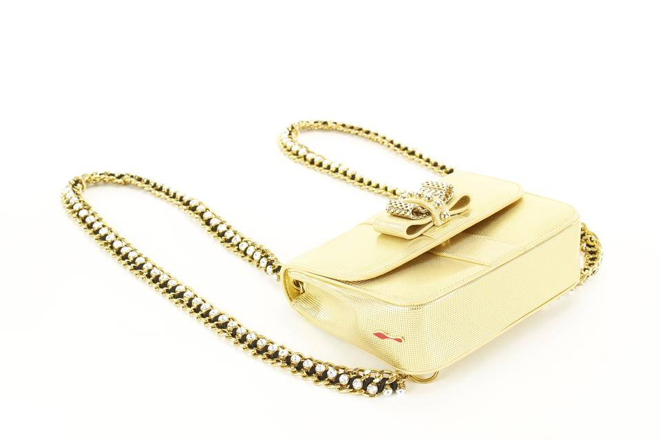 8e5a545dcc5 Christian Louboutin Sweet Charity Mini Womens Gold Leather Backpack 43% off  retail
