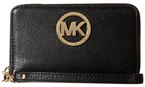 Michael Kors Fulton Pebble Leather Clutch Wristlet in Black