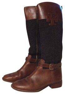 Tory Burch Charcoal Flannel and Cognac Brown Leather Boots