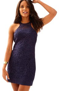 Lilly Pulitzer short dress $140 ** Free Shipping ** NWT OBO Crochet Jaimie Size Medium True Navy on Tradesy