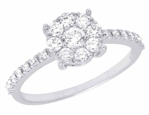 Jewelry Unlimited 14K White Gold Genuine Diamond Cluster Engagement Ring .95 CT