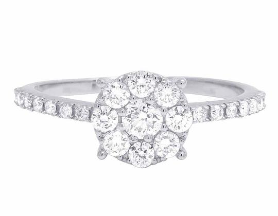 Jewelry Unlimited 14K White Gold Genuine Diamond Cluster Engagement Ring .95 CT Image 1