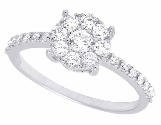 Jewelry Unlimited 14K White Gold Genuine Diamond Cluster Engagement Ring .95 CT Image 3