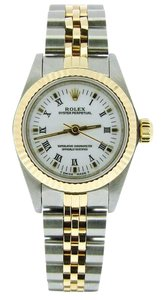 Rolex Ladies Rolex Two-Tone /SS Oyster Perpetual White Roman 67193