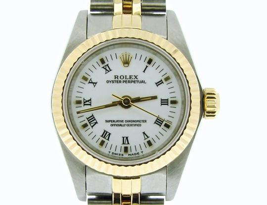 Rolex Ladies Rolex Two-Tone /SS Oyster Perpetual White Roman 67193 Image 5