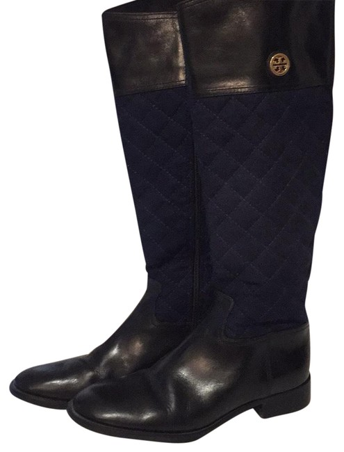 Item - Blue Navy Flannel Quilted Riding Boots/Booties Size US 9 Regular (M, B)
