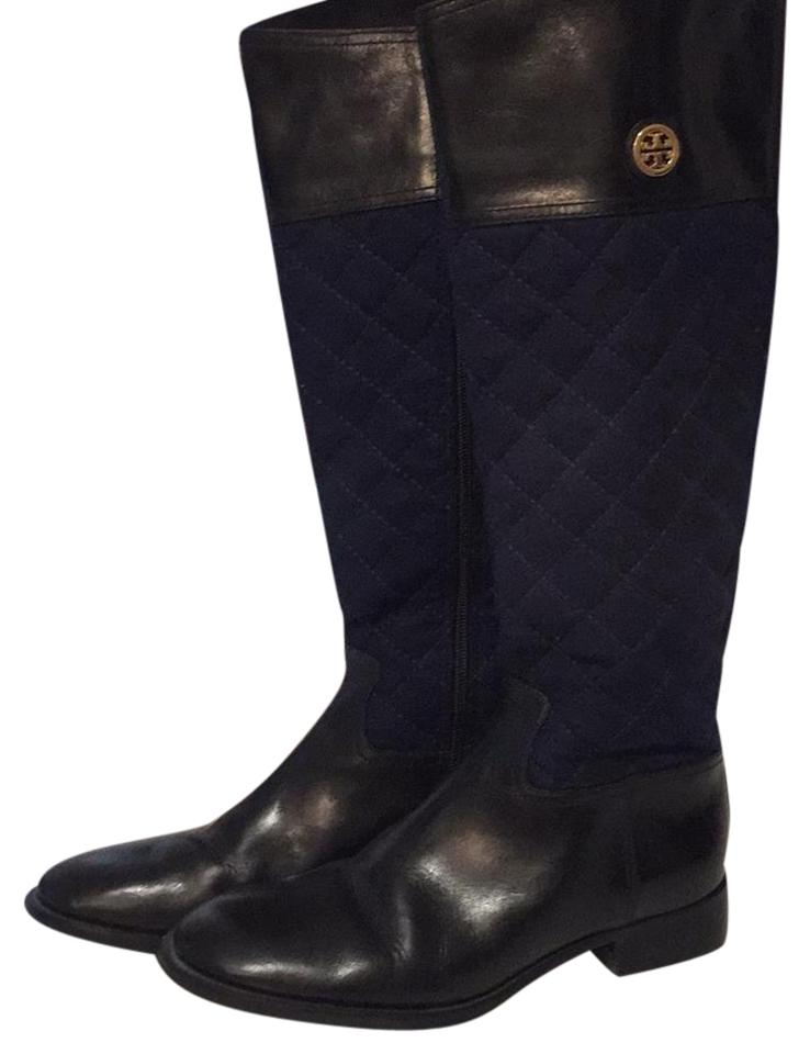 Tory Burch Navy Quilted Flannel and Black Leather Riding Boots ... : tory burch quilted boots - Adamdwight.com