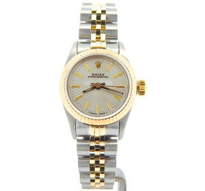 Rolex Ladies Rolex Two-Tone 18K/SS Oyster Perpetual Silver 67193