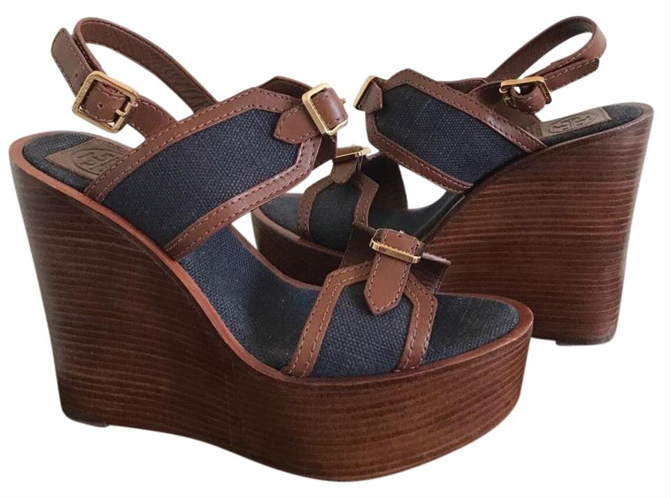 fa58e2a5559 Tory Burch Blue Brown Leather Canvas Buckle Open Toe Sandals Wedges ...