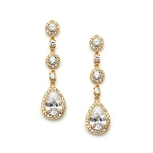 Mariell Stunning 14k Gold Brilliant Crystal Pear Drop Bridal Earrings
