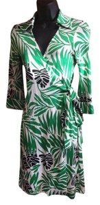 Diane von Furstenberg short dress White Green Dvf Dvf Wrap on Tradesy