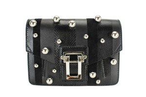 Proenza Schouler Striped Studded Leather Black Clutch
