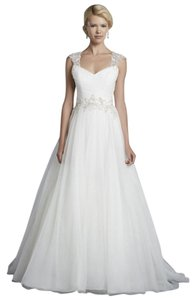Enzoani Ivory / Pewter Tulle Halifax Traditional Wedding Dress Size 8 (M)
