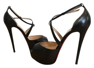 Christian Louboutin Heels Peep Toe Cross Me Crisscross Strap Black Platforms