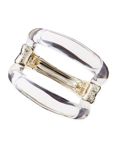 Alexis Bittar Extra Large Gold and Clear Lucite Hinge Bangle
