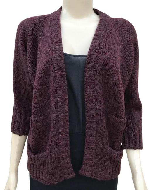Item - Burgundy Open Front Knit Cardigan Size 6 (S)