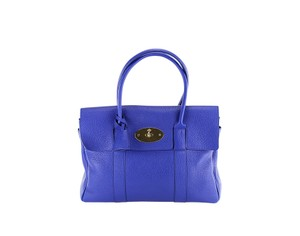 Mulberry Textured Leather Gold Hardware Tote in Blue