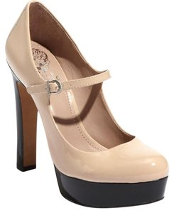 Vince Camuto Classic Patent Leather Comfortable Leather Black and Nude Platforms
