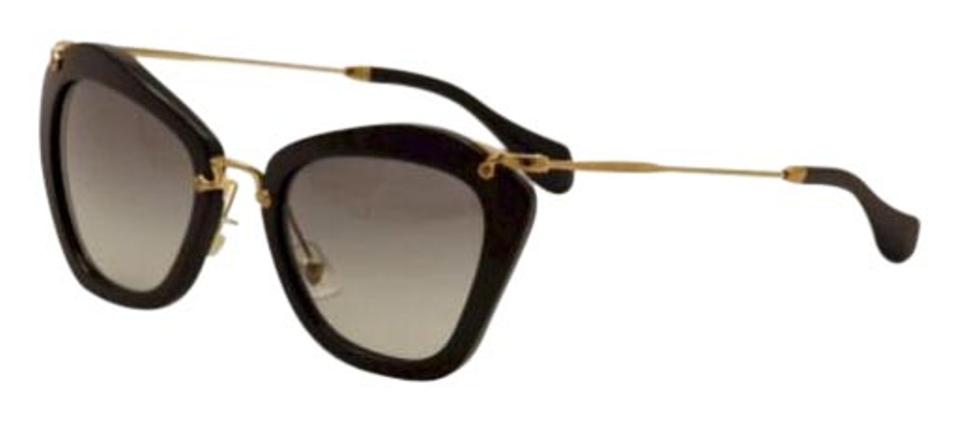 ad2b721cf28 Miu Miu Miu Miu MU03PS -1AB0A7 Black Gold Cats eyes 53mm Sunglasess Image 0  ...