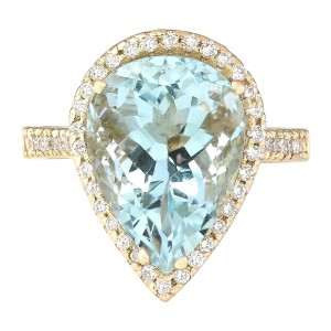 Fashion Strada 7.74 CTW Natural Blue Aquamarine And Diamond Ring In 14k Yellow Gold