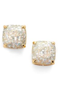 Kate Spade NEW New York Square Opal Galaxy Glitter Studs Earrings 12k Gold
