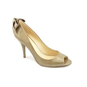 Enzo Angiolini Patent Leather Stiletto Peep Toe Comfortable Natural Pumps