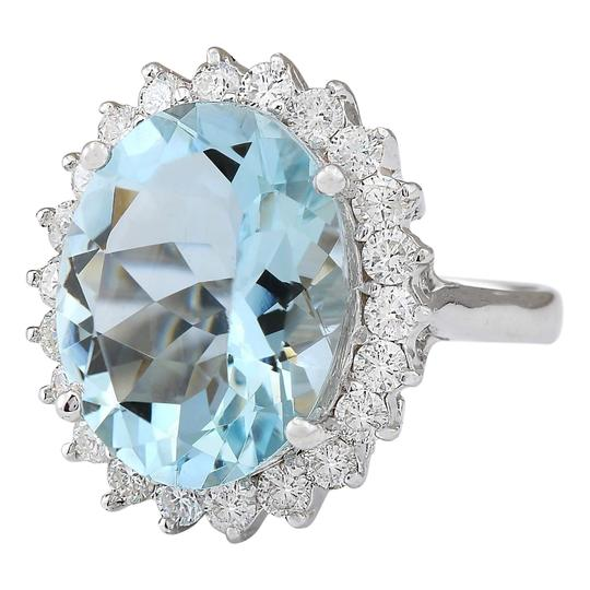 Fashion Strada 8.10 CTW Natural Aquamarine And Diamond Ring In 14k White Gold Image 1