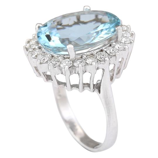 Fashion Strada 8.10 CTW Natural Aquamarine And Diamond Ring In 14k White Gold Image 2