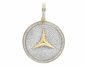 Other 10K Yellow Gold Mercedes Medallion Real Diamond Iced Pendant 1 CT 1.5