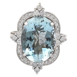 Fashion Strada 8.22 CTW Natural Aquamarine And Diamond Ring In 14k White Gold