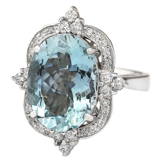 Fashion Strada 8.22 CTW Natural Aquamarine And Diamond Ring In 14k White Gold Image 1