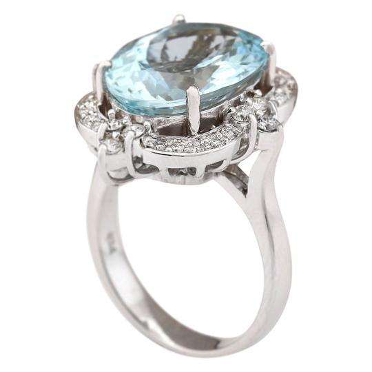 Fashion Strada 8.22 CTW Natural Aquamarine And Diamond Ring In 14k White Gold Image 2