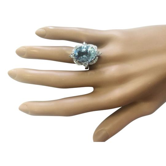 Fashion Strada 8.22 CTW Natural Aquamarine And Diamond Ring In 14k White Gold Image 3