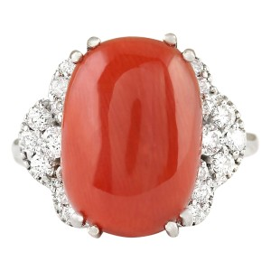 Fashion Strada 8.86 CTW Natural Coral And Diamond Ring In 14k White Gold