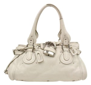 Chloé Chloe Padington Leather Handbags Padlock Satchel in White