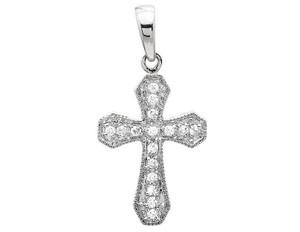 Other One Row Cross Solitaire Cut Diamond Pendant Charm 0.15ctw