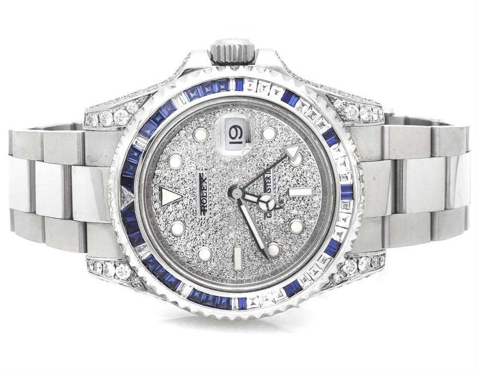 Rolex Stainless Steel Mens Gmt Master Ii Sapphire And Diamond Watch 53 Off Retail
