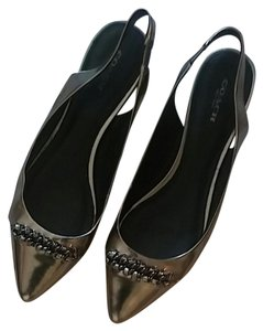 Coach Pointed Toe Slingback Metallic Silver Pewter Flats