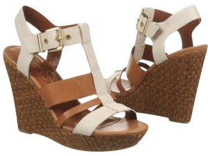 Jessica Simpson brown and Ivory Wedges