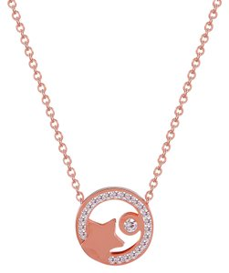 Master Of Bling Star Solitaire Choker Chain Charm Rose Gold Stainless Steel Women's